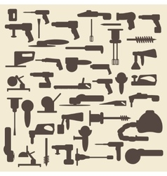 Electric construction tools silhouette icons set vector image