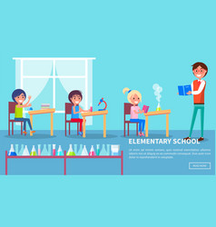 elementary school class with teacher and pupils vector image vector image