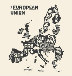 european union europe poster map vector image
