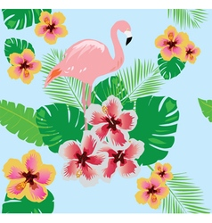 flamingos flower seamless vector image