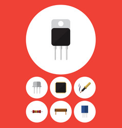 flat icon technology set of resistance bobbin vector image
