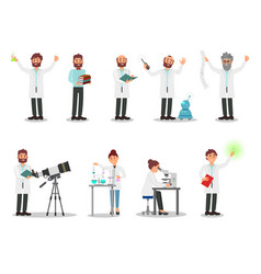 flat set of people scientists men and vector image
