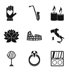 Getting married icons set simple style vector