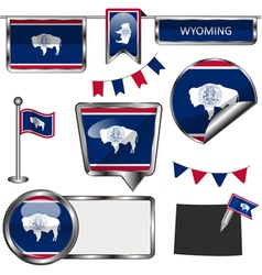 Glossy icons with Wyomingite flag vector image