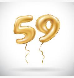 golden number 59 fifty nine metallic balloon vector image