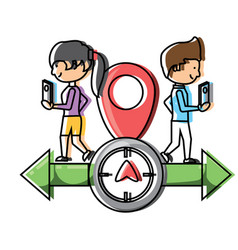gps design with woman and man icon vector image