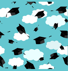Graduates hats in the clouds sky seamless pattern vector