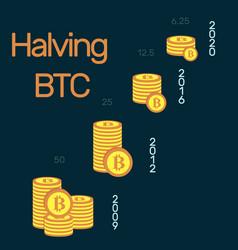 Halving bitcoin a visual representation how vector