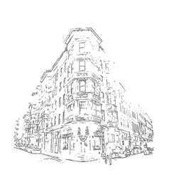 hand drawn building vector image