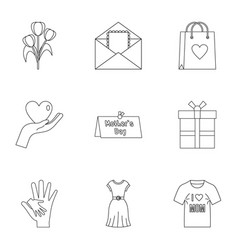 happy mothers day icon set outline style vector image