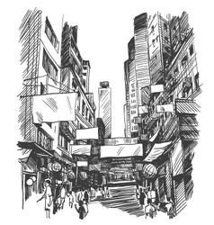 Hong Kong drawing vector image