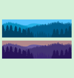 horizontal realistic forest landscape with trees vector image