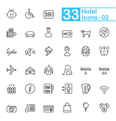 Hotel services and travel outline icons vector