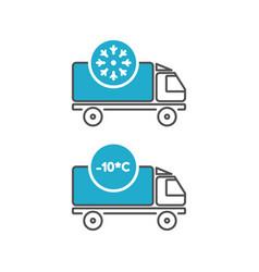 ice cream delivery fridge truck icons vector image