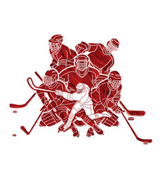 ice hockey players action cartoon sport graphic vector image