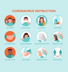 infographic icons coronavirus instruction vector image