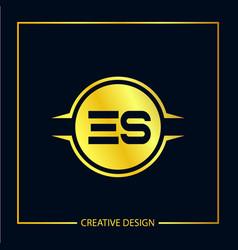 Initial es letter logo template design vector