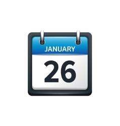 January 26 Calendar icon flat vector
