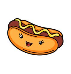 Kawaii hot dog vector