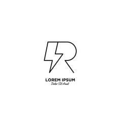 Letter r flash logo design vector