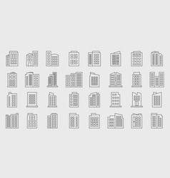 line building icons company set vector image