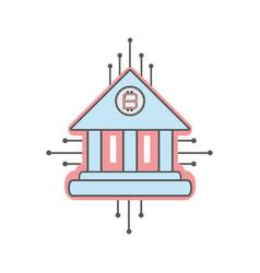 Line icon circuit bank bitcoin money currency vector