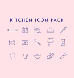 Line icons set in flat design elements cooking vector