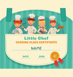 Little chef certificate cooking class chefs vector