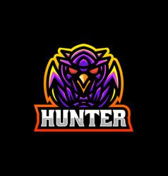 logo owl hunter e sport and sport style vector image