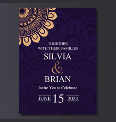 Luxury and elegant wedding invitation card with vector