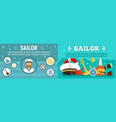 marine sailor banner set flat style vector image