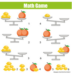 Mathematics educational game for children balance vector