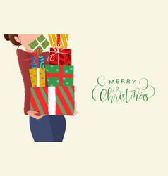 merry christmas card woman holding gift box vector image
