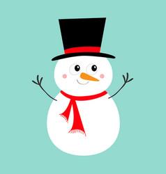 merry christmas snowman icon carrot nose black vector image