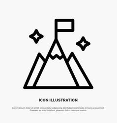 Mountain flag user interface line icon vector