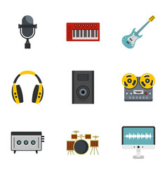 Music stuff icon set flat style vector
