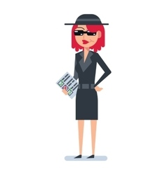 Mystery shopper woman in spy coat vector image