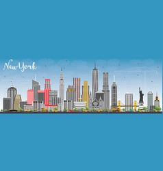 New york usa skyline with gray skyscrapers and vector