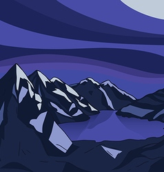Night mountain Glacial lake landscape modern vector image