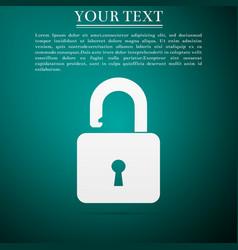 open padlock icon on green background lock symbol vector image