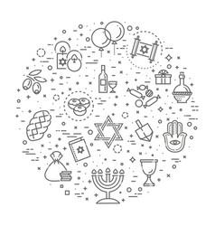 Outline icon collection - symbols hanukkah vector