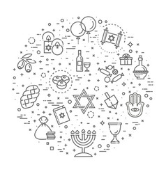 Outline icon collection - symbols of hanukkah vector