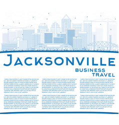 outline jacksonville skyline with blue buildings vector image