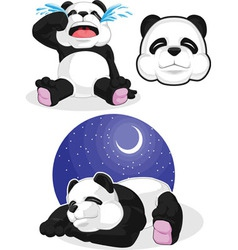 Panda Set 2 Sleeping Crying Panda Head vector image
