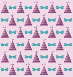 party hat with bow decorative pattern vector image