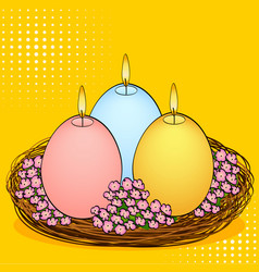 Pop art easter candles in the shape of an egg vector