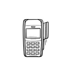 pos terminal hand drawn outline doodle icon vector image