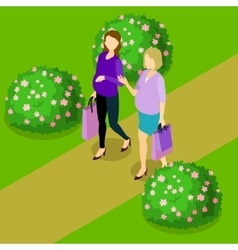 Pregnant Women Isometric Composition vector image