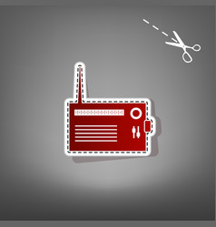radio sign red icon with for vector image