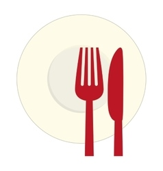 Red knife fork and plate icon vector